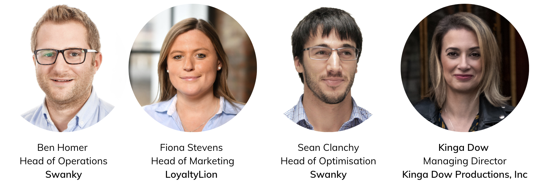headshot of host and speakers